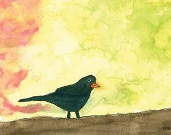 Bird Perched On A Branch Watercolor Digital Downloadable Print