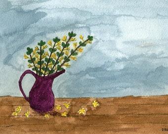 Trio Of Vases Watercolor (3) Digital Downloadable Print