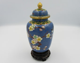 white green duck egg Small urn excellent condition vintage cloisonn\u00e9 beautiful piece pink 60 x 50mm gold decorated floral