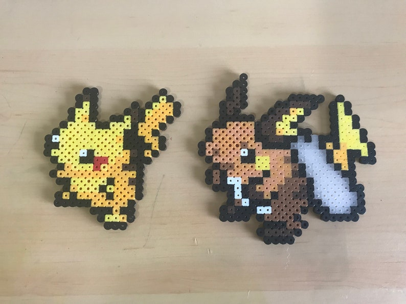 Pikachu Raichu Perler Bead Sprites