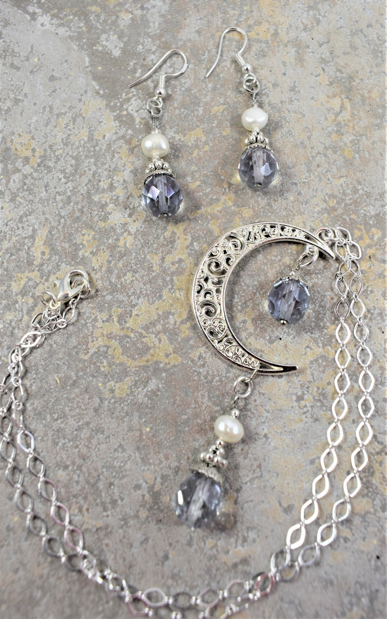 Necklace and Earrings Set Silver Moon with Glass and Pearl Beads