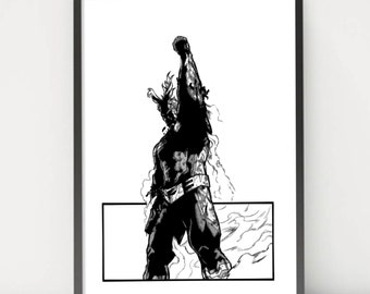 My Hero Acade All Might Anime Black And White Statement A4 Print