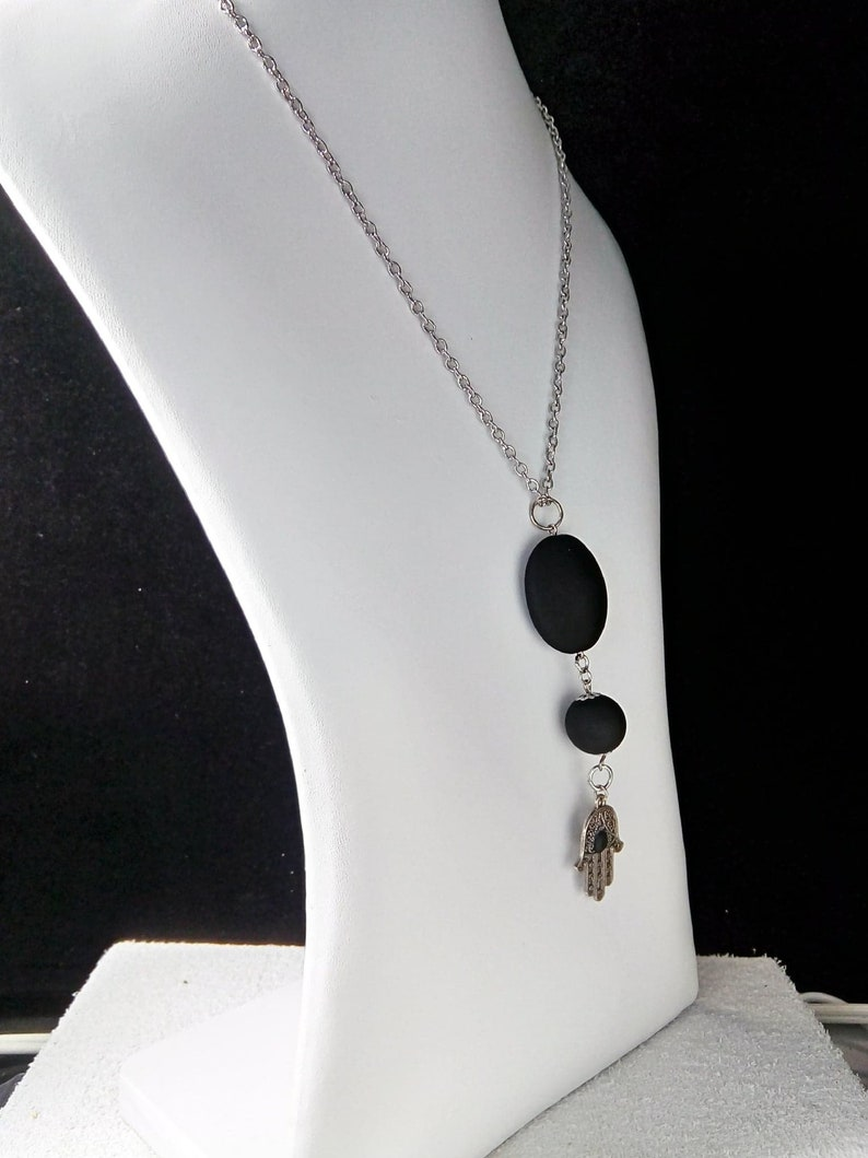 Long necklace with Hamsa pendant