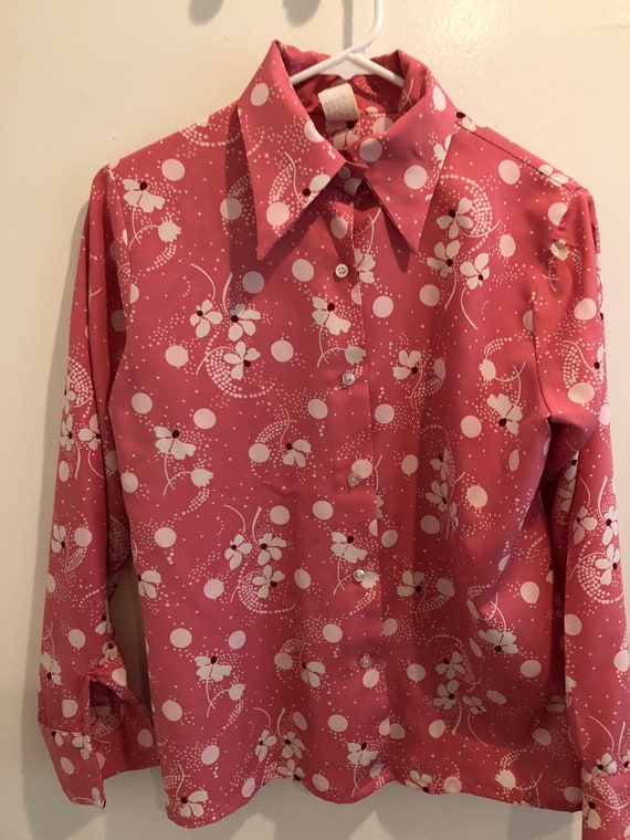 Vintage Button Up | Floral | Blouse | S Small | Po