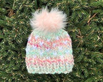 230da9395e9 Faux Fur Pom Handmade Knitted Chunky Hat
