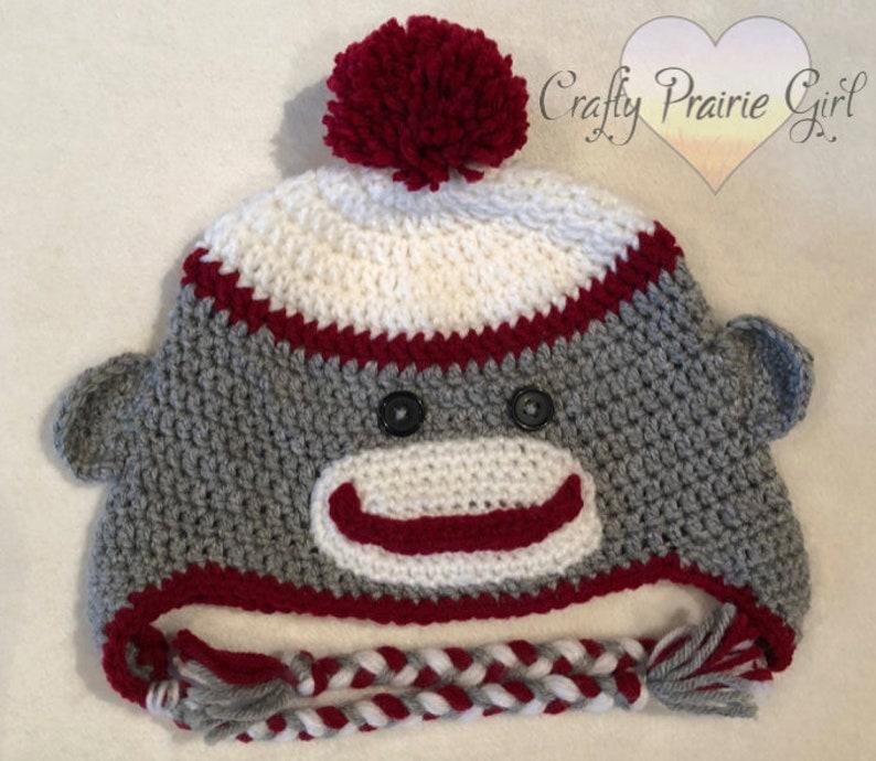 Crochet Sock Monkey Hat Character Hat Custom Crochet Hat Etsy