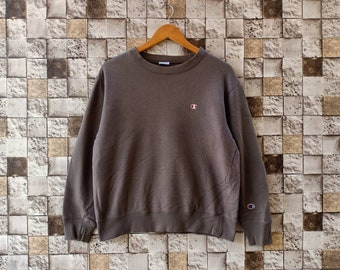 6aceade39855 Vintage 90s Champion Sweatshirts Crewneck Men's Clothing Brown Colour Small  Logo Champion Large Size Sweater Champion Cotton Jumper Pullover