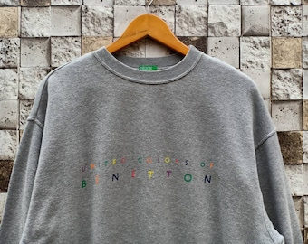 8060a1b4e36 Vintage 90s United Color Of Benetton Sweatshirt Men s Clothing Gray Colour  Vintage United Color Of Benetton Small Logo Spellout Pullover