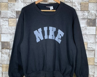 84457808 Vintage 90s Nike Spell out Logo Sweatshirt Crewneck Black Colour vintage  Nike Spell out Logo pullover jumper sweatshirt