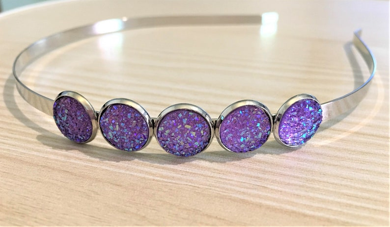 Vintage Style Gunmetal Black Metal Headbands with Druzy  Drusy Style Gems in Various Colours