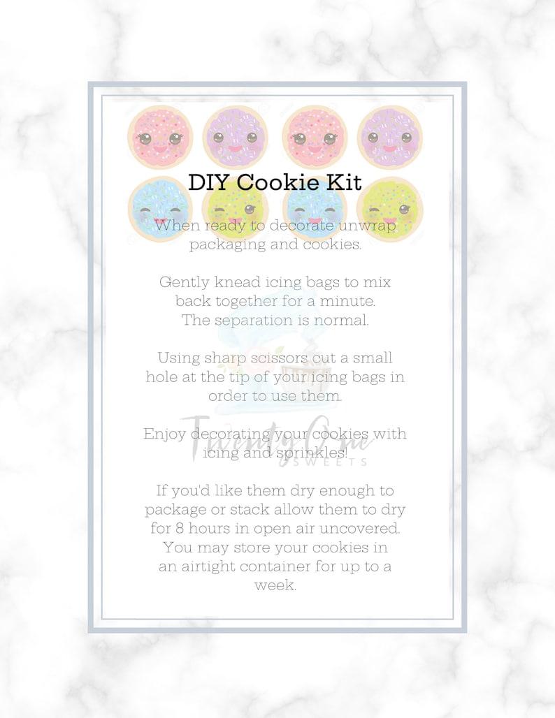 Cookie Decorating Kit Cookie Tag Cookies Printable DIY Cookie Kit Instruction Card-Cute Cookie Design 3.5 x 5