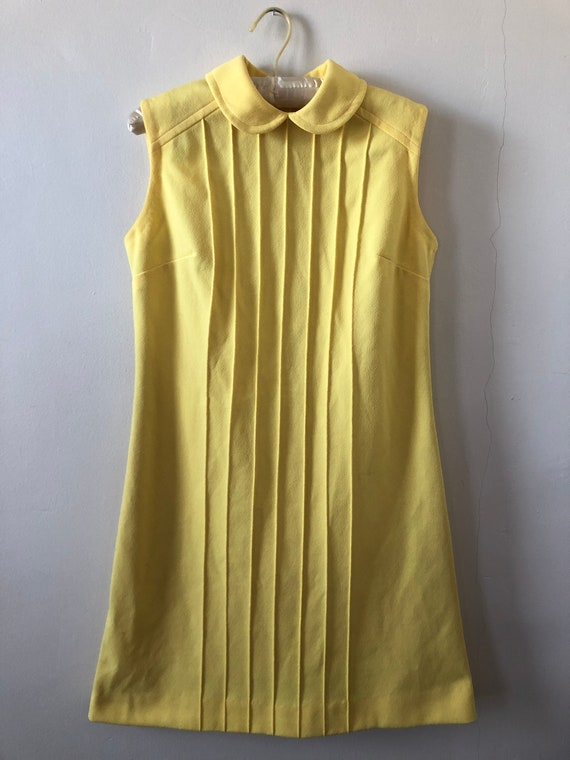 1960s Mod-Style Yellow Crepe Shift Dress with Pete