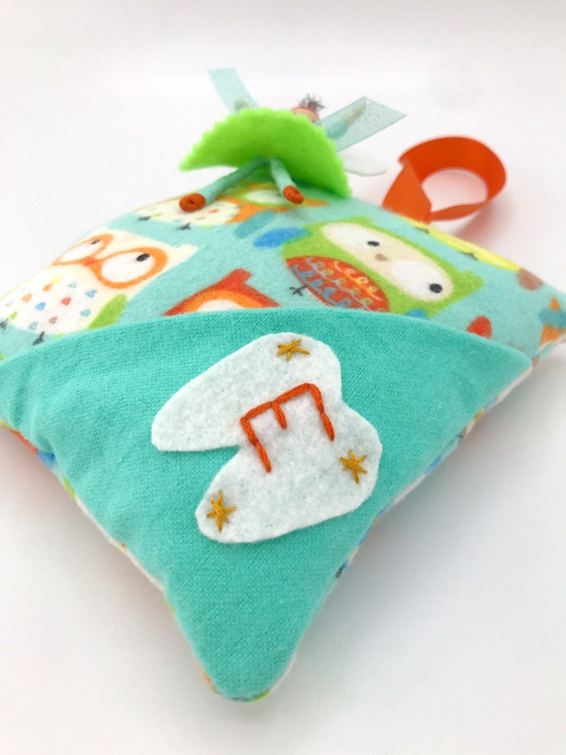 Personalized Handmade Birthday Gift for Girl Cute Owl Tooth Fairy Pillow with Fairy Flower Doll Hand Embroidered Monogram
