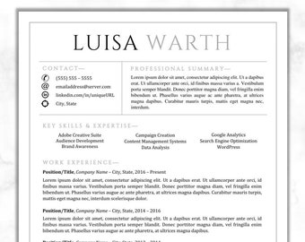 Resume Template For Word Single Page