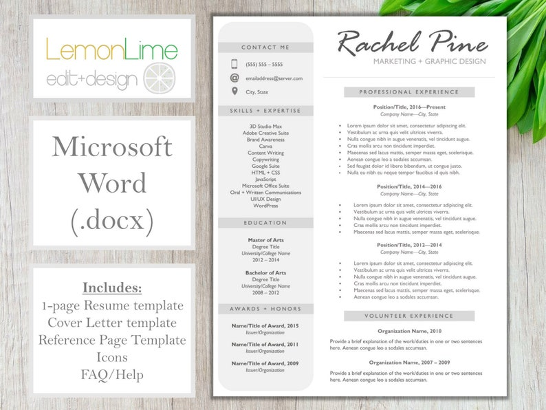 Resume Template for Word Single Page | Grey White Resume for Word | CV  Resume + Cover Letter + References | Instant Download Resume