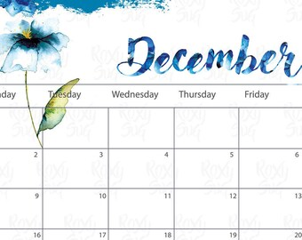 image relating to Printable Monthly Calendar December named December calendar Etsy