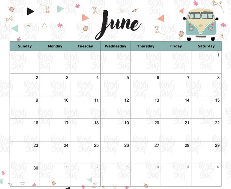 Calendar June 2019 June Printable Calendar 2019 June 2019 Calendar Printable Calendar 2019 Monthly Calendar Instant Download