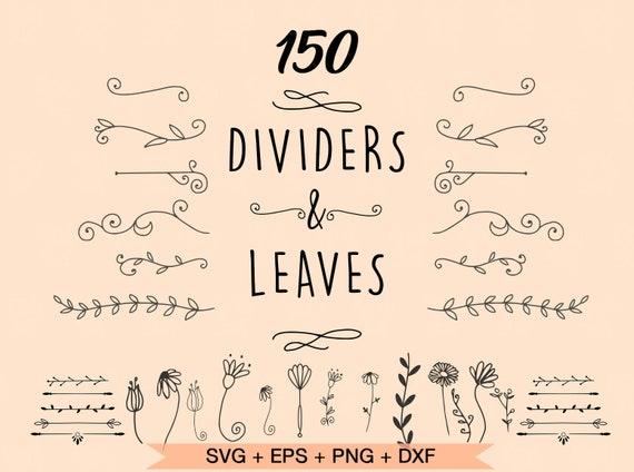Divider Svg Leaves Svg Flourish Svg Flourish Dividers Svg Etsy