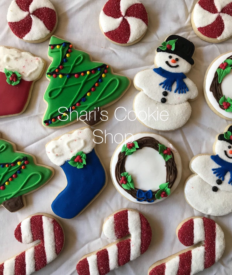 Christmas Sugar Cookies Snowmen Trees Stockings Candy Canes Pinwheel Mints Wreaths