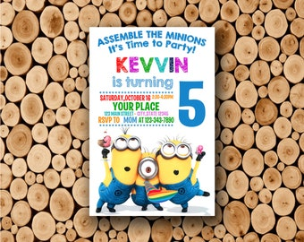 minions invitation save the date minions characters etsy