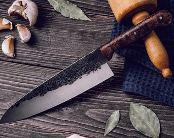 handmade chef knife hand forged knife kitchen knife gyuto cooking knife custom knife n690 stainless steel fixed blade personalized knife