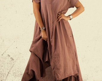 63bfc3ceaf66 Women s Irregular Dusky Pink Dress   Cotton Asymmetrical   Bohemian Boho    Long Maxi High Low Hemline   Plain Solid Color