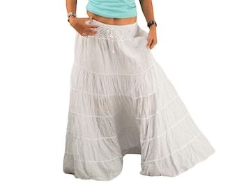 5b8a2815c White Gypsy Skirt * Boho Skirts * Tiered Cotton * Peasant Hippie * Long  Maxi Flared * Plain Solid Colors * Large