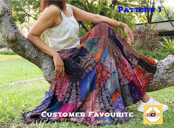 Boho hippie vintage style up-cycled patchwork frilled hem maxi wrap skirt freesize up to size 18 p8