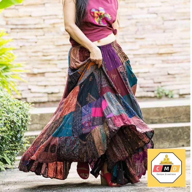 Boho Patchwork Skirt  Long Gypsy Hippie Tiered in 100% Silky image 1