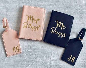 337ba0ae1 Personalised Passport cover and luggage tag  Personalised passport cover  Passport  holder  Mr and Mrs passport set  Wedding gifts