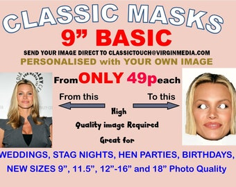 12 Personalised Face Masks KIT- Eyes Cut Out, KIT- Fully Cut Out, Ready to Wear