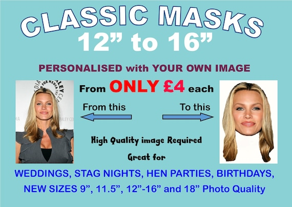 PERSONALISED MASKS ON STICKS x3,4,5,6,7,8,9,10 Stag Hen Night Photo Face Do card