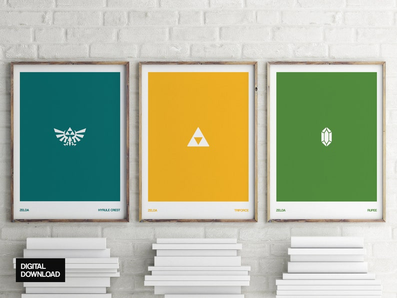 wall art poster triforce Zelda : Triforce wall art triforce minimalist poster hyrule poster wall art video games digital download