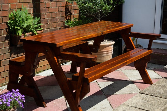 Enjoyable Convertible Garden Bench And Picnic Table Combination Ncnpc Chair Design For Home Ncnpcorg