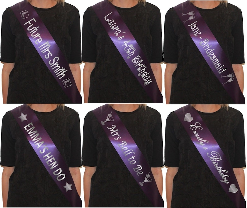 CUSTOM SASH HIGH QUALITY SILVER WRITING FOR HEN PARTY BABY SHOWER BIRTHDAY
