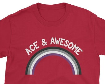 46739083 Asexual Pride T Shirt - Ace & Awesome - LGBTQ Tee - Asexual Pride Flag Shirt