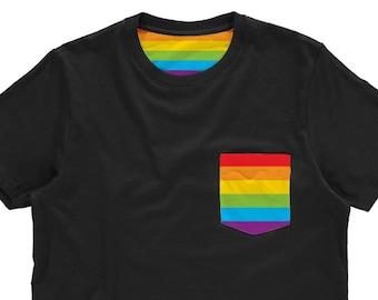 4cfbbf5282de Pride Flag Rainbow Shirt | Gay Pride Pocket T Shirt | LGBT Pride Shirt |  Rainbow Pocket Tee | Unisex Pride Shirt