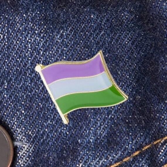 GENDERQUEER PRIDE FLAG GAY RAINBOW LAPEL PIN BADGE GIFT