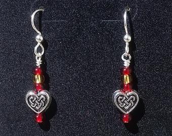 Love Is Forever - Red and Gold Celtic Heart Beaded Earrings - Sterling Silver Hooks - Handmade