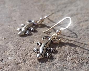 Silver Toned Gecko Charm Earrings - Sterling Silver Hooks - Lizard - Animal Charm