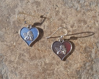 Silver Toned Cherub Heart Charm Earrings - Sterling Silver Hooks - Inspired by Raphael