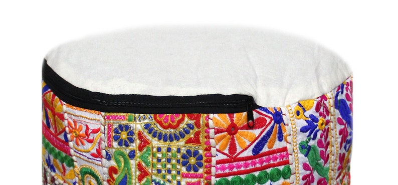 22 Indian Handmade Vintage White Round Pouf Cover Floor Decorative Ottoman Footstool Pouf Cover Patchwork Seating Chair Pouf Cover Throw