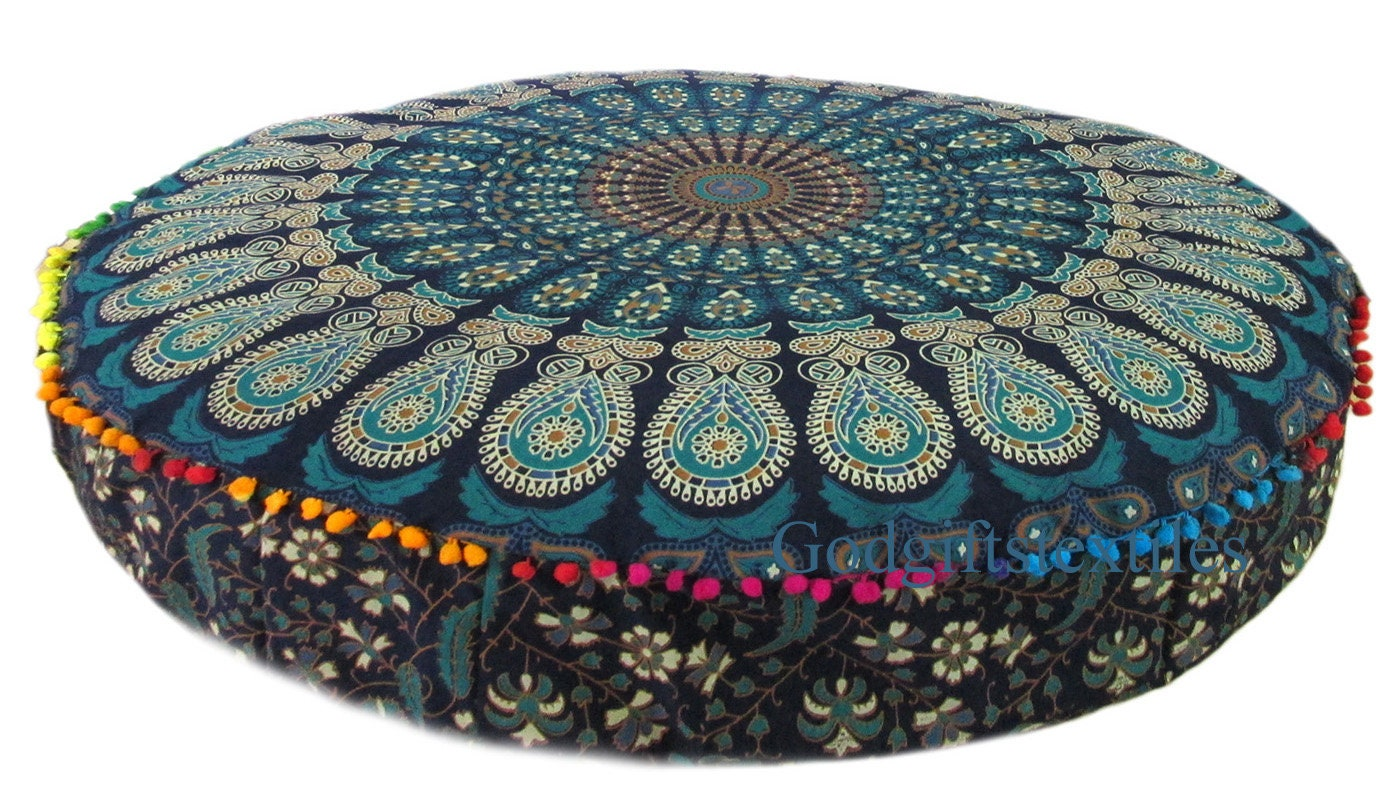 35 Round Cushion Cover Indian Purple Burning Sun Decorative Large Pillow Case Covers Floor Decorative Cushion Case Cover Yoga Meditation