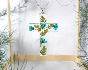 Unique Blossom Cross Necklace