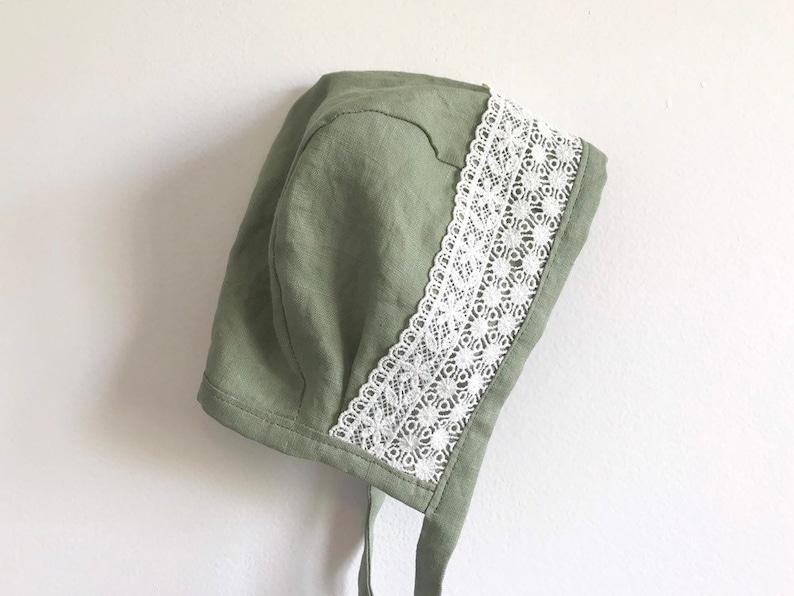 green linen bonnet Dusty green linen and lace bonnet classic brimless bonnet summer bonnet linen brimless bonnet lace baby girl bonnet