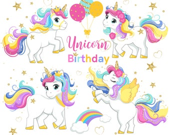 Birthday unicorns PNG, glitter, Personal & Commercial Use, instant download, Planner stickers, Sublimation kids, Rainbow