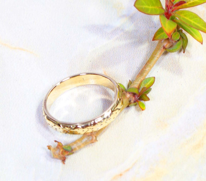 18 K Natural Gold Polish Wedding Band Ring Size US 6 to 10 Handmade Rings Man/'s /& Women/'s Jewellery