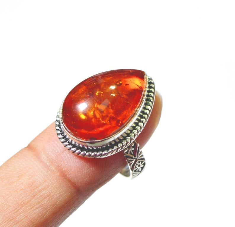 Orange Color Amber Gemstone Ladies Ring Size US 8.5 Silver Plated Handmade Jewellery