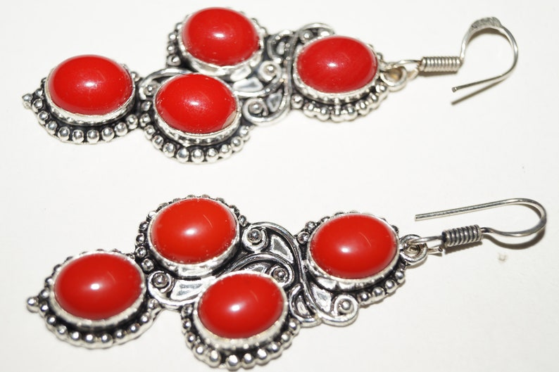 Red Color Coral Gemstone Ladies Earring 5224 mm Silver Plated Handmade Jewellery