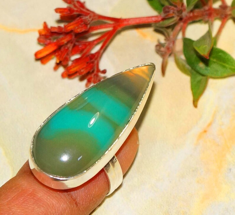 Gemstone Rings 925 Silver Plated Rings Green Onyx Ring Size US 9 Statement Rings Bohemian Rings